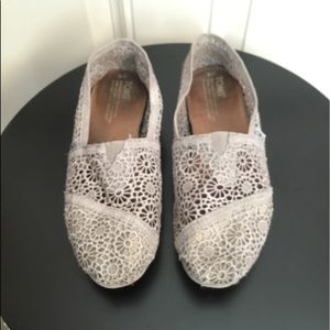 Toms Taupe Lace Flats